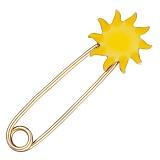 Булавка из желтого золота Солнышко с эмалью