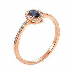 Золотое кольцо Соната в красном цвете с бриллиантами и сапфиром