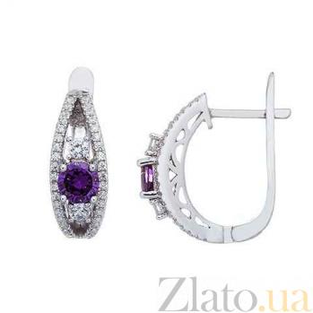 Изысканные серьги из серебра с фиолетовым цирконием Взор  AQA--EJ2847-Am