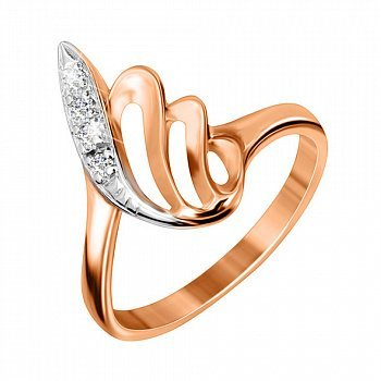 Серебряное кольцо с позолотой и цирконием 000025446
