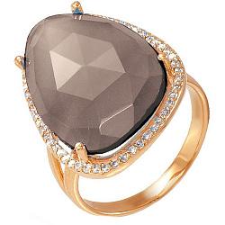 Золотое кольцо Женева с кварцем дымчатым и фианитами