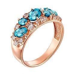 Кольцо в красном золоте с голубыми топазами и фианитами 000122646