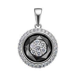 Кулон из белого золота с черным бриллиантом инкрустированным белыми бриллиантами  0.40сt 000145346