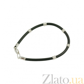 Каучуковый браслет с серебром Modern style 3Б570-0004