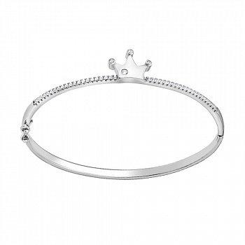 Жесткий серебряный браслет с цирконием 000140015