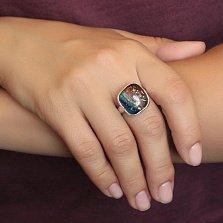 Серебряное кольцо Метеоритный поток с имитацией опала