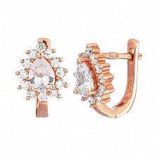 Позолоченные серьги из серебра с фианитами Шанталь
