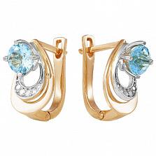 Золотые серьги Теодора с голубым топазом и фианитами