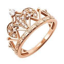 Кольцо-корона из красного золота с фианитами 000103740