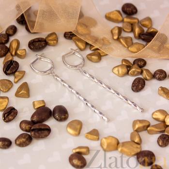 Серьги-подвески Водоворот в белом золоте 000079426