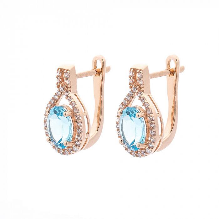 Золотые серьги Аделфа с голубым топазом и фианитами 000082580