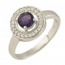 Серебряное кольцо Вэнди с аметистом и фианитами