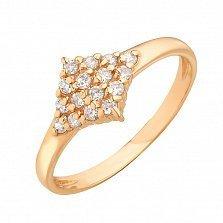 Золотое кольцо Вытянутый ромб в усыпке белых фианитов