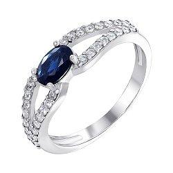 Серебряное кольцо с сапфиром и фианитами 000007611