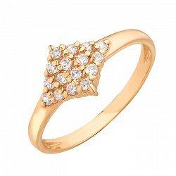 Золотое кольцо Ромб в усыпке белых фианитов 000071574