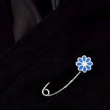 Серебряная булавка Цветочек с голубой эмалью