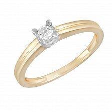Кольцо Ирэн из желтого золота с бриллиантом