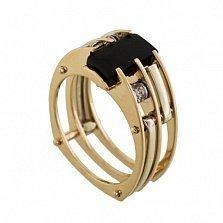 Перстень в красном золоте Южный ветер с агатом и фианитами