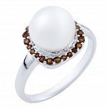 Серебряное кольцо Адонсия с жемчугом и синтезированным гранатом