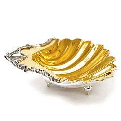 Серебряная икорница Ундина в форме ракушки с позолотой