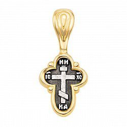 Серебряный крестик с позолотой и чернением 000134245