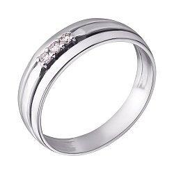 Золотое кольцо в белом цвете с бриллиантами 000102267