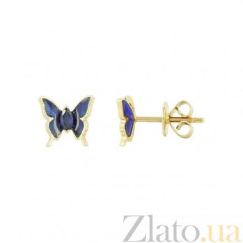 Золотые серьги Бабочки с сапфиром и эмалью 000026698