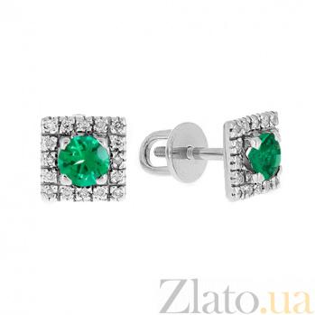 Серебряные серьги с бриллиантами и изумрудами Шанталь ZMX--EDE-6687-Ag_K