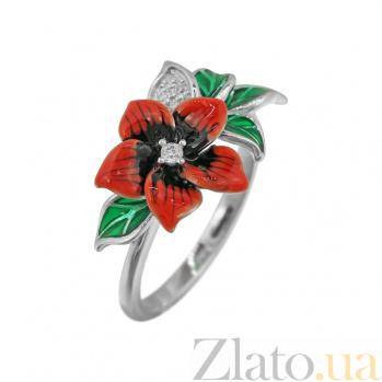 Серебряное кольцо Летний цветок с фианитами и цветной эмалью 000081543