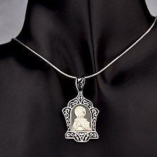 Серебряная ладанка Почитай заповеди с черной эмалью