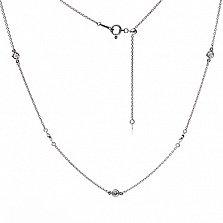 Колье из белого золота Мадлен якорного плетения с бриллиантами