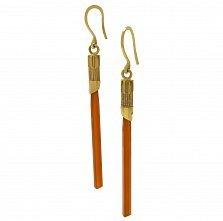 Золотые серьги-подвески Меч джедая с оранжевым агатом