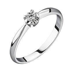 Помолвочное кольцо из белого золота с бриллиантом, 0,09ct 000034685