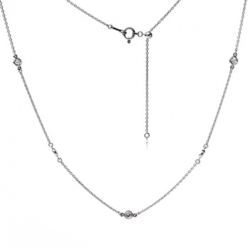 Колье из белого золота Мадлен якорного плетения с бриллиантами 07121219ц