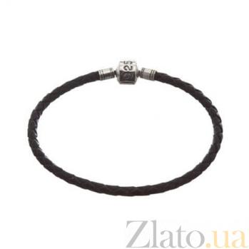 Кожаный браслет для шармов с серебряной вставкой Стиль AQA-925ч
