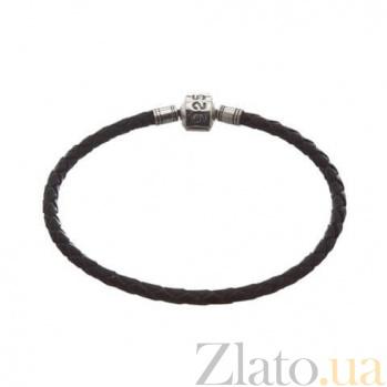 Кожаный браслет для шармов с серебряной вставкой Стиль AQA--925ч