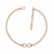Золотой браслет Бесконечность из сердечек в комбинированном цвете с бриллиантами