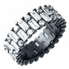 Серебряное кольцо Герцогиня с фианитами и черным родием