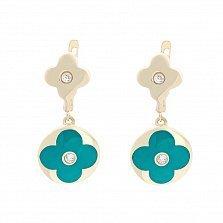 Золотые серьги-подвески Полевой цветок с голубой эмалью и фианитами