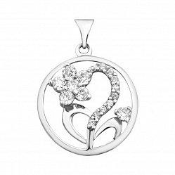 Серебряный кулон Лесной цветочек с фианитами