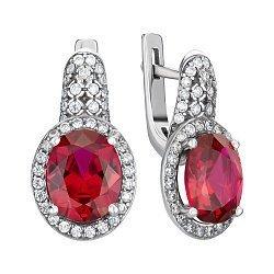 Серебряные серьги с гидротермальным рубином и цирконием 000146130