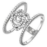 Серебряное кольцо Роза с цирконием
