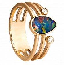 Золотое кольцо Стефания с опалом и фианитами