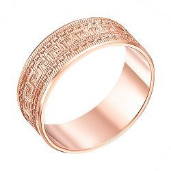 Обручальное кольцо из красного золота с алмазной гранью 000000337