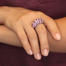 Серебряное кольцо Элли с разноцветными фианитами