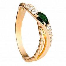 Золотое кольцо Магнолия с изумрудом и бриллиантами