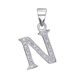 Серебряная подвеска буква N с фианитами 000126190