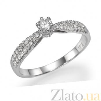 Кольцо из белого золота Элинор с дорожками и бриллиантами 000098615