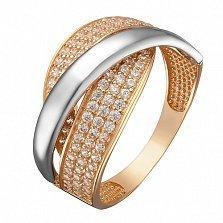 Кольцо в комбинированном золоте Ирида с цирконием