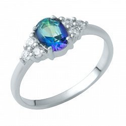 Серебряное кольцо с мистик топазом и фианитами 000128763